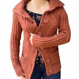 Mossimo Burnt Orange Button Up Sweater